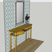 Vue de profil, tiroirs pivotants ouverts, sycomore massif, incrustation d'un filet de bois noirci, assemblage à rainure à queue d'aronde