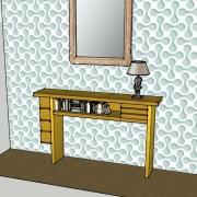 Vue de face, tiroirs pivotants fermés, sycomore massif, assemblage à rainure à queue d'aronde