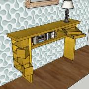 Vue de côté, tiroirs pivotants ouverts, sycomore massif, assemblage à rainure à queue d'aronde
